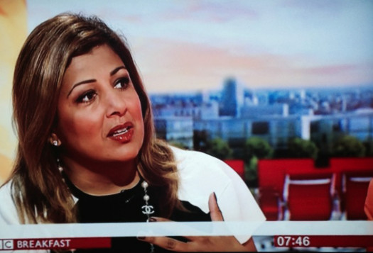 Pavita Cooper speaking on BBC Breakfast on Gender Pay Inequality. August 2014